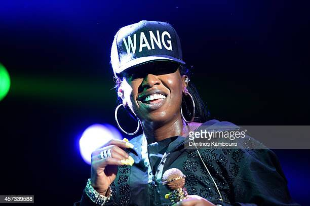 Musician Missy Elliott performs onstage at the Alexander Wang X HM Launch on October 16 2014 in New York City