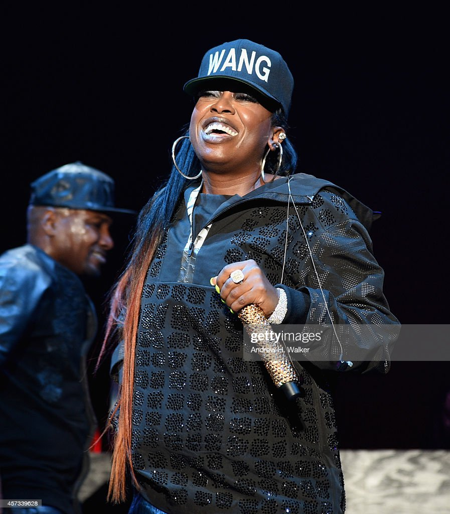 Musician Missy Elliott performs onstage at the Alexander Wang X H&M Launch on October 16, 2014 in New York City.