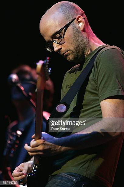 Musician Moby performs at the 10 Weeks Don't Get Mad Get Even gala at the Hammerstein Ballroom August 24 2004 in New York City The event was...
