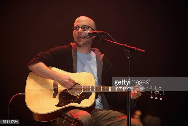 Musician Moby performs at the Bring 'Em Home Now 3rd Iraq War Anniversary Concert at Hammerstein Ballroom March 20 2006 in New York City