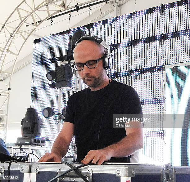Musician Moby performs during the 2008 Virgin Mobile Festival at Pimlico Race Course on August 10 2008 in Baltimore Maryland