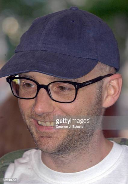 Musician Moby poses before the start of the Planned Parenthood 'Stand Up For Choice' Extravaganza on April 24 2004 in Washington DC The prochoice...
