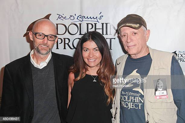 Musician Moby racecar driver Leilani Munter and activist Ric O'Barry attend the Kings Of Chaos benefit concert for Ric O'Barry's Dolphin Project at...