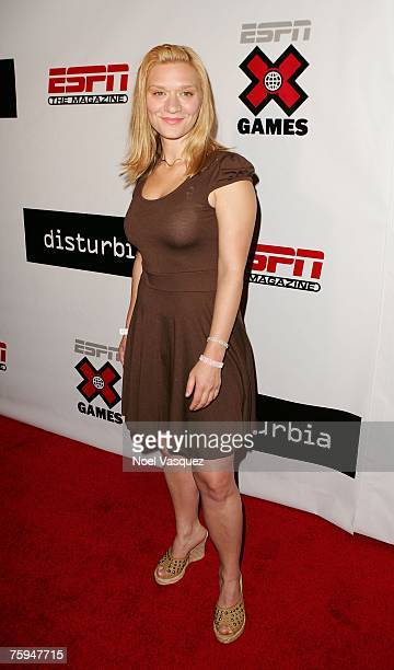 Musician Moira Cue arrives to the Disturbia DVD Launch and X Games 13 Kick Off Party at The Standard Downtown Hotel on August 02, 2007 in Los...