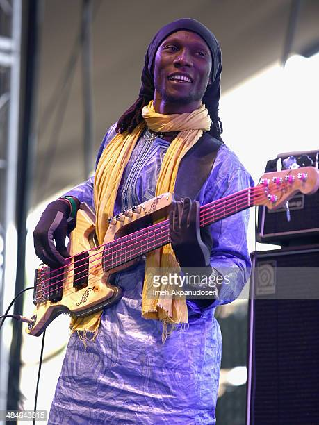 Musician Moussa Albade of Bombino performs onstage during day 3 of the 2014 Coachella Valley Music Arts Festival at the Empire Polo Club on April 13...