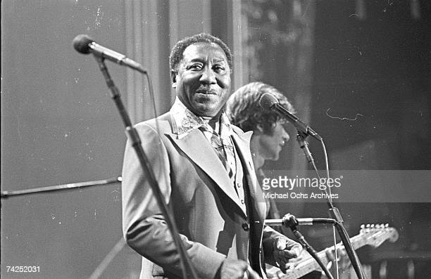 Musician Muddy Waters performs on stage at The Band's 'The Last Waltz' concert at Winterland Ballroom on November 25 1976 in San Francisco California
