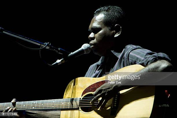 Musician Musician Geoffrey Gurrumul Yunupingu performs on stage at the TIO Stadium May 17, 2008 in Darwin, Australia. Yunupingu is supporting Elton...