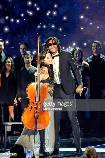 Musician Nana OuYang and rapper Wiz Khalifa perform onstage during the 2018 Breakthrough Prize at NASA Ames Research Center on December 3 2017 in...