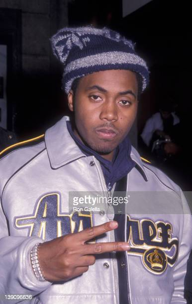 Musician Nas attends Tommy Hilfiger Fashion Show 'Young Loud Sexy' on February 4 2000 at the Manhattan Center in New York City