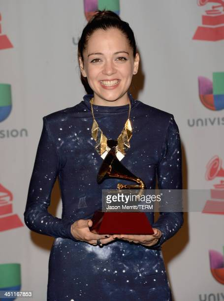 Musician Natalia Lafourcade winner of Best Alternative Music Album for 'Mujer Divina Homenaje a Agustin Lara' poses in the press room at the 14th...