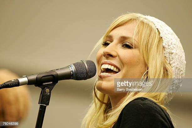 Musician Natasha Bedingfield performs at the John Lennon Educational Tour Bus Main Stage during the 2008 Consumer Electronic Show at the Las Vegas...