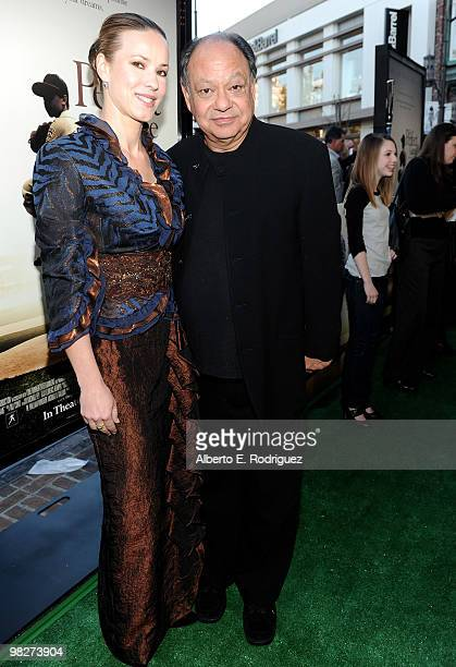 Musician Natasha Marin and actor Cheech Marin arrive at the premiere of IndustryWorks' The Perfect Game on April 5 2010 in Los Angeles California