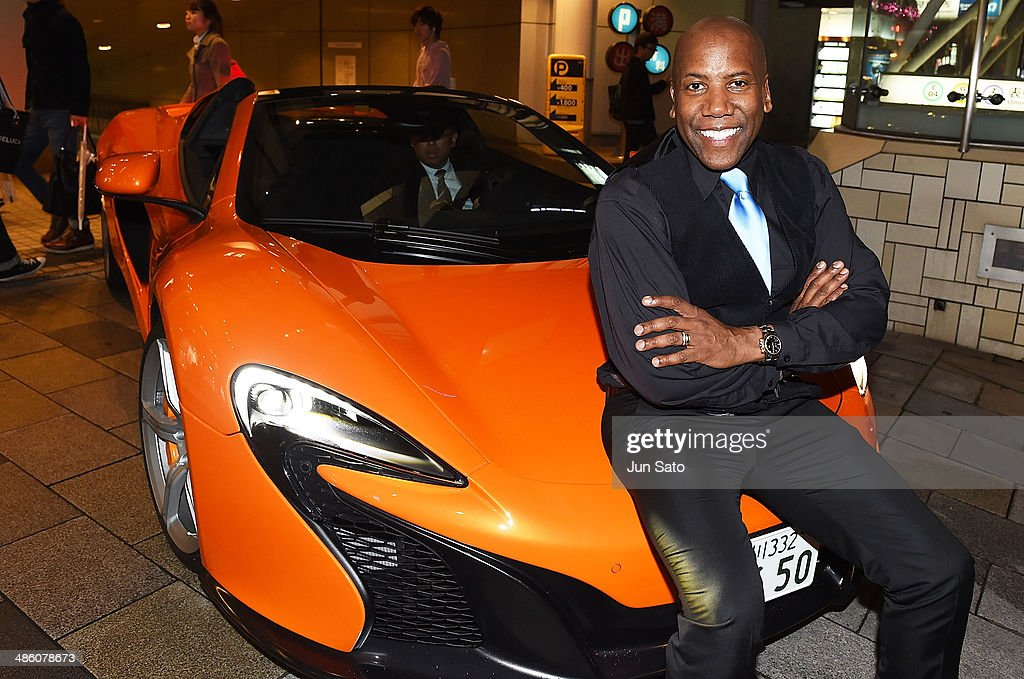 Musician Nathan East arrives at his Debut Album Release Party in a McLaren 650S sports car on April 22, 2014 in Tokyo, Japan.