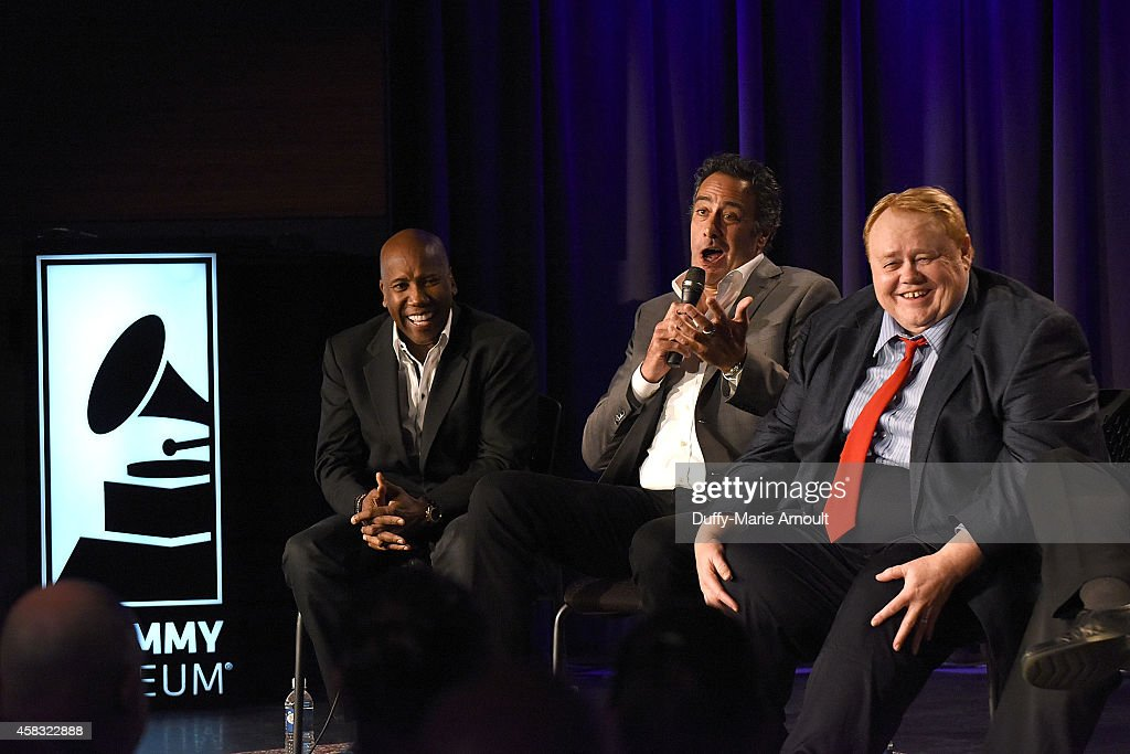 Musician Nathan East, comedian Brad Garrett and comedian Louie Anderson speak at Celebrating Rodney Dangerfield at The GRAMMY Museum on November 2, 2014 in Los Angeles, California.