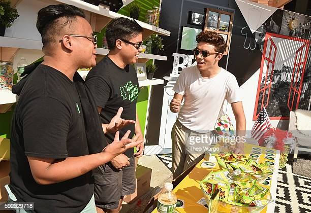 Musician Nathan Sykes spends time at The Patch during the 2016 Billboard Hot 100 Festival Day 1 at Nikon at Jones Beach Theater on August 20 2016 in...