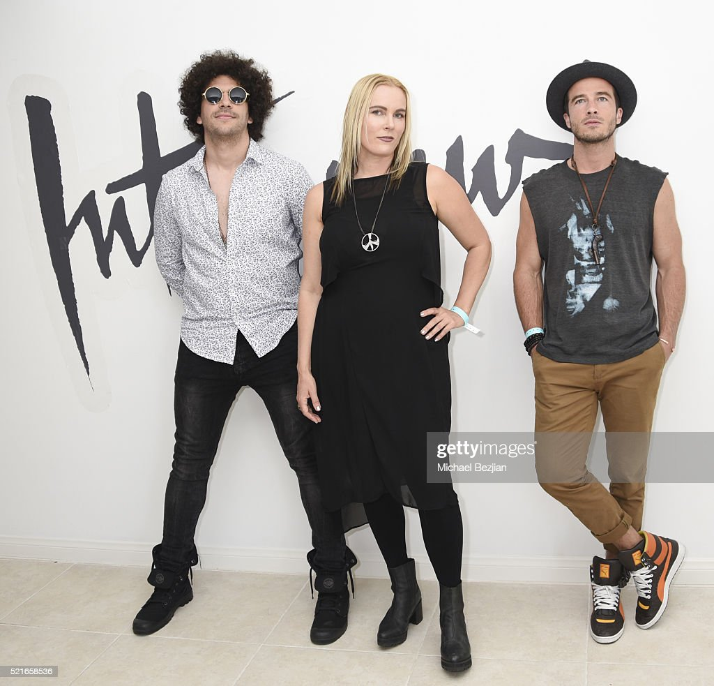 Musician Nazim Chambi, singer-songwriter Rochelle Vincente Von K, and musician Ryan Carnes pose for portait at Paradise House Presented By Interview on April 16, 2016 in Palm Springs, California.