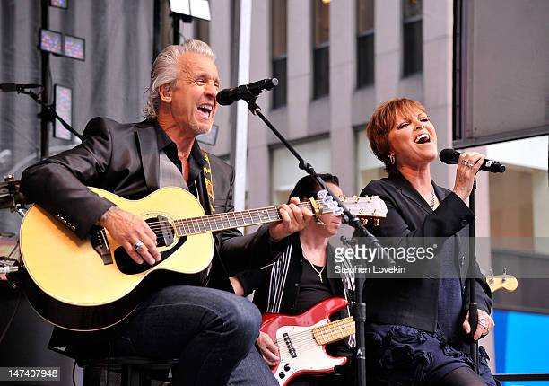 Musician Neil Giraldo and singer Pat Benatar perform during 'FOX Friends' All American Concert Series at FOX Studios on June 29 2012 in New York City