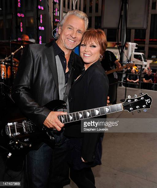 Musician Neil Giraldo and singer Pat Benatar pose for a photo on stage before performing on 'FOX Friends' All American Concert Series at FOX Studios...