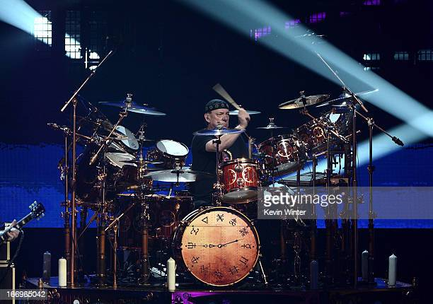 Musician Neil Peart of Rush perform on stage at the 28th Annual Rock and Roll Hall of Fame Induction Ceremony at Nokia Theatre LA Live on April 18...