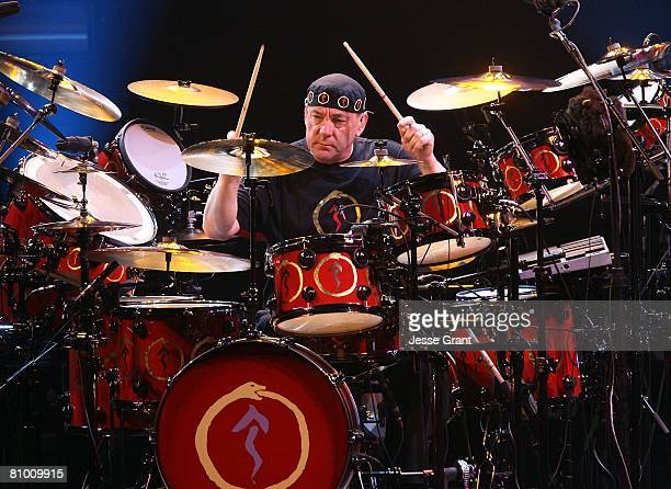 Musician Neil Peart of the band Rush performs at the Nokia Theatre on May 6 2008 in Los Angeles California
