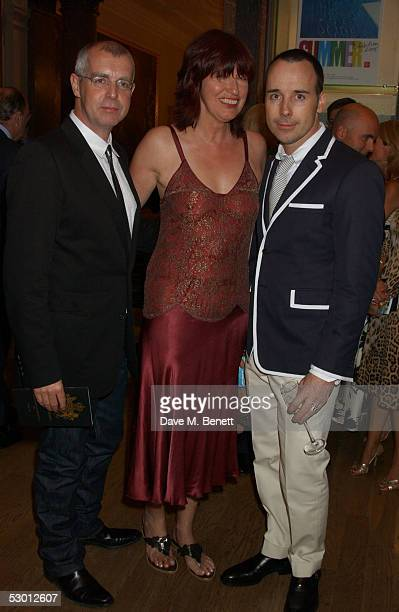 Musician Neil Tennant producers Janet StreetPorter and David Furnish attend The Royal Academy Summer Exhibition Preview Party at the Royal Academy of...