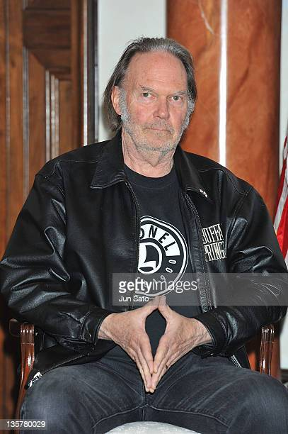 Musician Neil Young attends the earthquake and tsunami relief 'Tomodachi' at US Ambassador Residence on December 14 2011 in Tokyo Japan