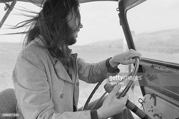 Musician Neil Young Driving Jeep