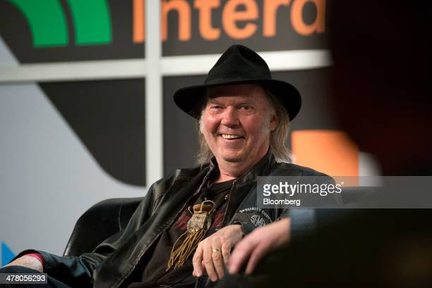 Musician Neil Young founder and chairman of PonoMusic smiles during a featured session at the South By Southwest Interactive Festival in Austin Texas...