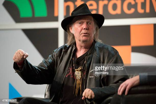 Musician Neil Young founder and chairman of PonoMusic speaks during a featured session at the South By Southwest Interactive Festival in Austin Texas...