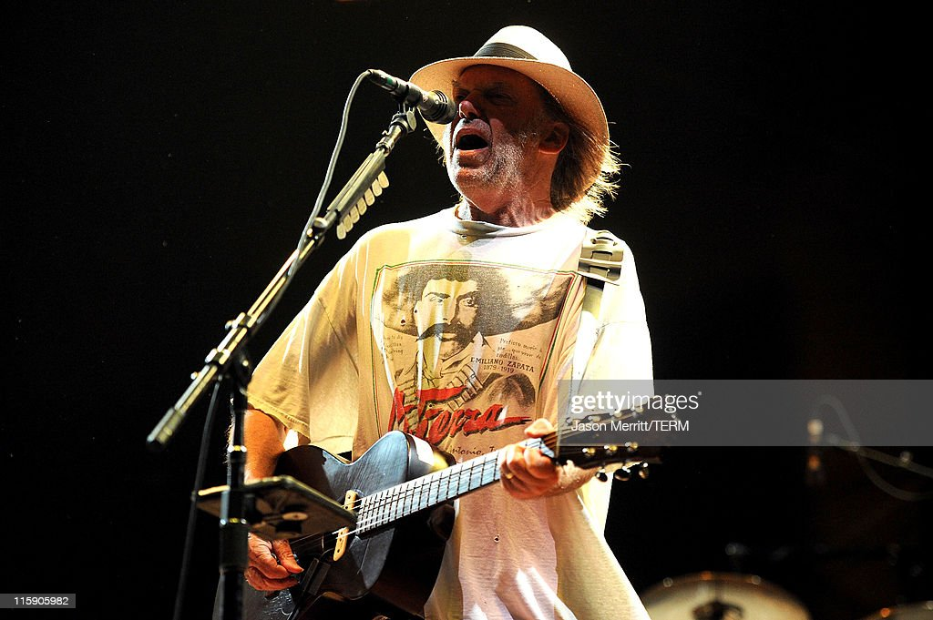 Musician Neil Young of Buffalo Springfield performs on stage during Bonnaroo 2011 at Which Stage on June 11, 2011 in Manchester, Tennessee.