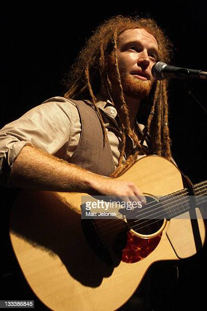 Musician Newton Faulkner performs on stage in The Forum on September 6 2008 in Melbourne Australia