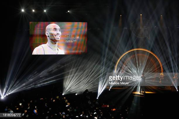 Musician Ne-Yo performs as the late professional basketball player and Class of 2020 inductee Kobe Bryant is honored during the 2021 Basketball Hall...