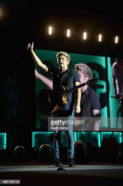 Musician Niall Horan performs onstage during One Direction's 'On the Road Again' tour opener at Qualcomm Stadium on July 9 2015 in San Diego...