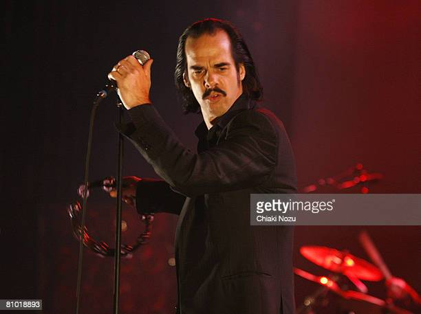 Musician Nick Cave of Nick Cave and The Bad Seeds performs on stage May 7, 2008 at Hammersmith Apollo in London, England.