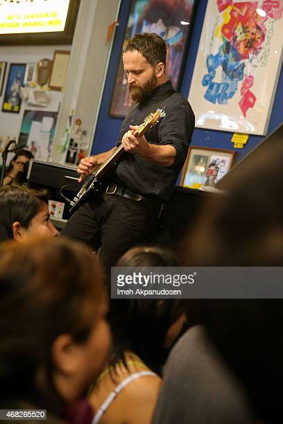 Musician Nick Harmer of Death Cab for Cutie performs onstage for the release of their new album 'Kintsugi' at Amoeba Music on March 31 2015 in...