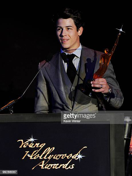 Musician Nick Jonas accepts an award onstage at the 12th Annual Young Hollywood Awards at the Wilshire Ebell Theatre on May 13 2010 in Los Angeles...