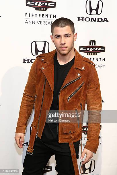 Musician Nick Jonas attends the 2016 Honda Civic Tour Artists Announcement and Honda Civic North America Launch Event at the Garage on March 22 2016...