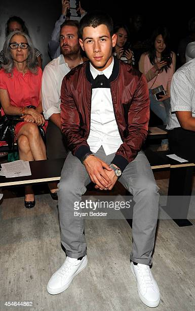Musician Nick Jonas attends the Todd Snyder fashion show during MercedesBenz Fashion Week Spring 2015 at The Pavilion at Lincoln Center on September...