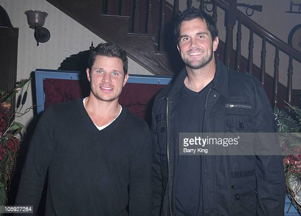 Musician Nick Lachey and Football Player Matt Leinart attend Knott's Scary Farm Halloween Haunt at Knott's Berry Farm on October 20 2010 in Buena...