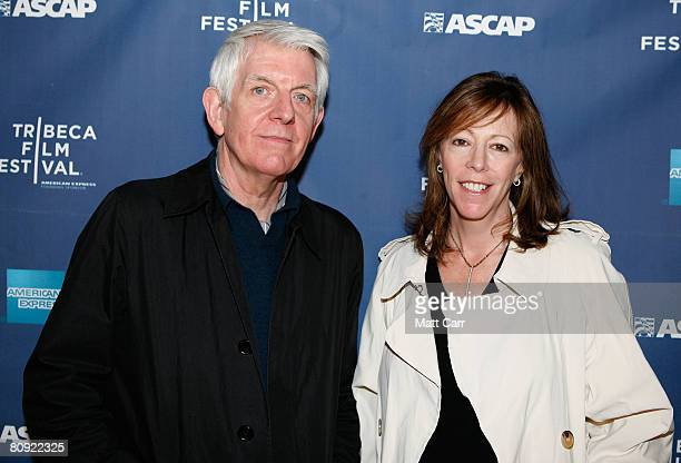 Musician Nick Lowe and Tribeca Film Festival CoFounder Jane Rosenthal pose during the Tribeca ASCAP Music Lounge at the 2008 Tribeca Film Festival on...