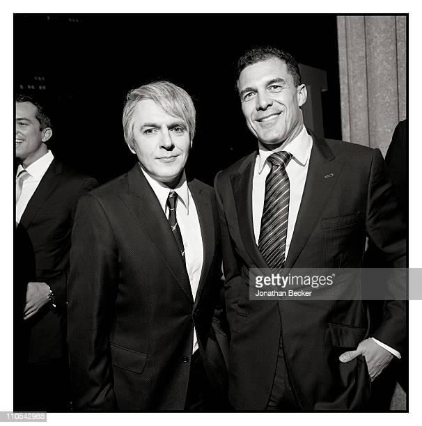 Musician Nick Rhodes and hotelier Andre Balazs are photographed at the Tribeca Film Festival for Vanity Fair Magazine on April 21 2009 in New York...