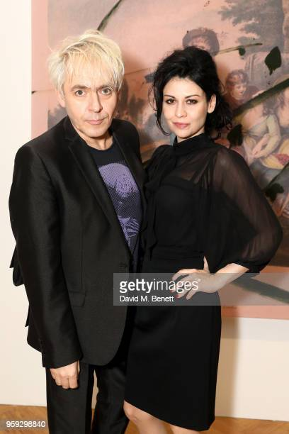 Musician Nick Rhodes and Nefer Suvio attend Pace Gallery Celebrates Julian Schnabel at 6 Burlington Gardens on May 16 2018 in London England
