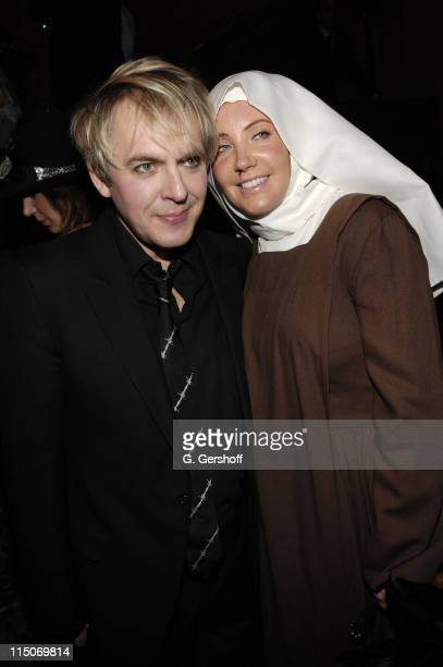 Musician Nick Rhodes of Duran Duran and guest attend the Roberto Cavalli Vodka and Giuseppe Cipriani Halloween Party at Cipriani's 42nd Street on...