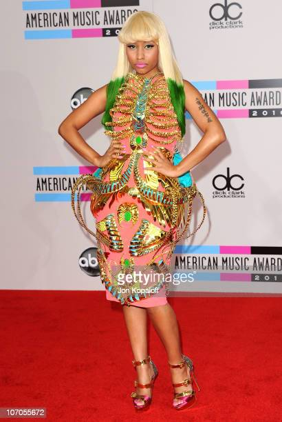 Musician Nicki Minaj arrives at the 2010 American Music Awards held at Nokia Theatre L.A. Live on November 21, 2010 in Los Angeles, California.