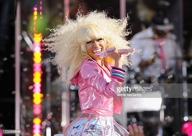 """Musician Nicki Minaj performs on ABC's """"Good Morning America"""" at Rumsey Playfield, Central Park on August 5, 2011 in New York City."""