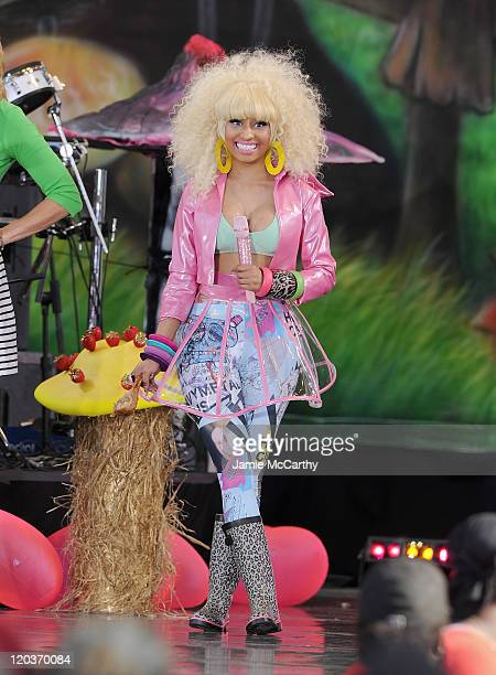Musician Nicki Minaj performs on ABC's 'Good Morning America' at Rumsey Playfield Central Park on August 5 2011 in New York City