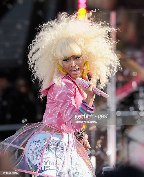 Musician Nicki Minaj performs on ABC's Good Morning America at Rumsey Playfield Central Park on August 5 2011 in New York City