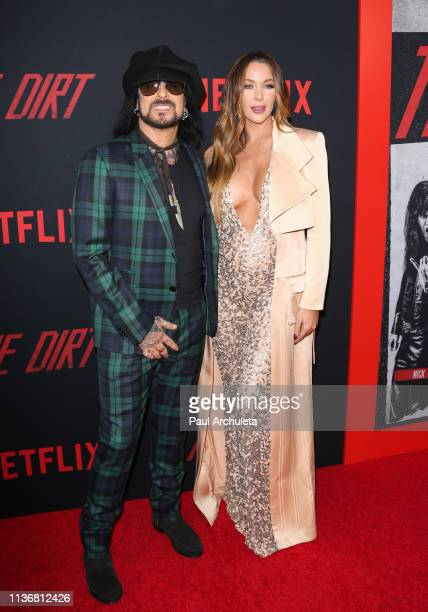 Musician Nikki Sixx and Courtney Sixx attend the Premiere Of Netflix's 'The Dirt' at ArcLight Hollywood on March 18 2019 in Hollywood California