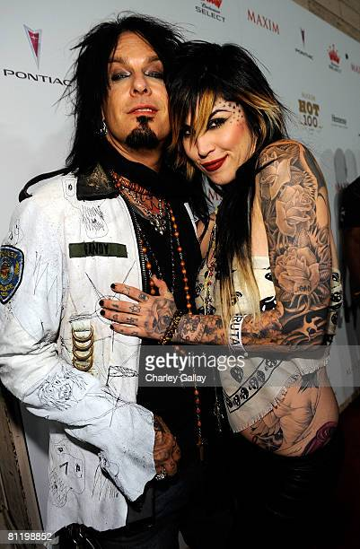 Musician Nikki Sixx and Kat Von D arrive at Maxim's 2008 Hot 100 Party held at Paramount Studios on May 21 2008 in Los Angeles California