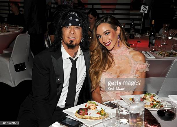 Musician Nikki Sixx and model Courtney Sixx in the audience at the 2014 iHeartRadio Music Awards held at The Shrine Auditorium on May 1 2014 in Los...